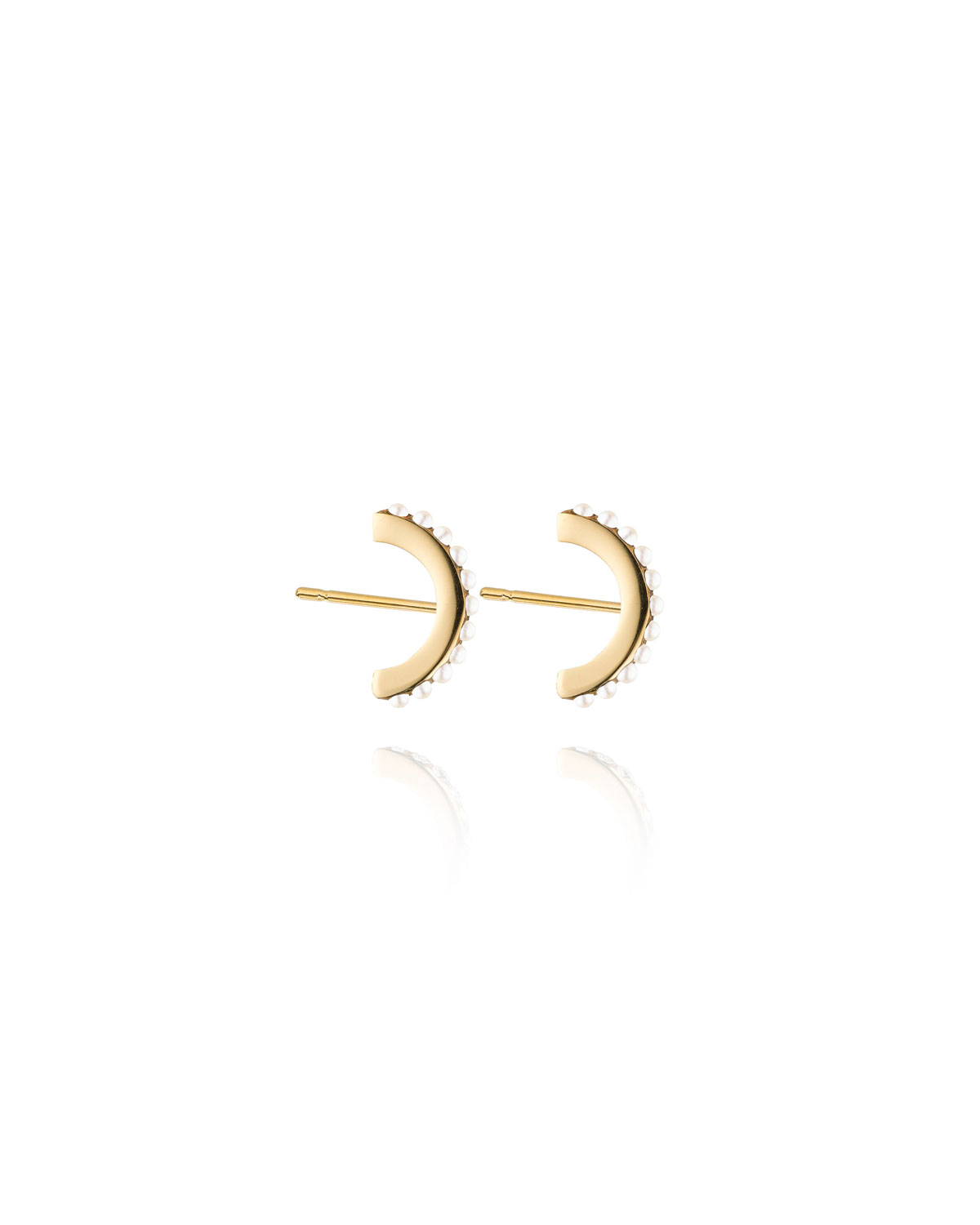 Vita Fede Luna Pearly Hoop Stud Earrings