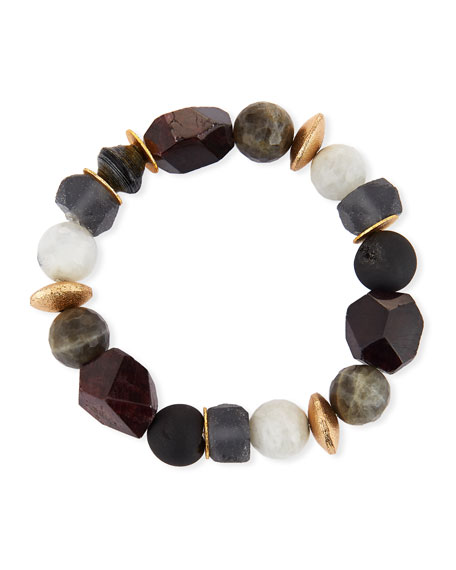 Akola Pica Beaded Garnet Stretch Bracelet
