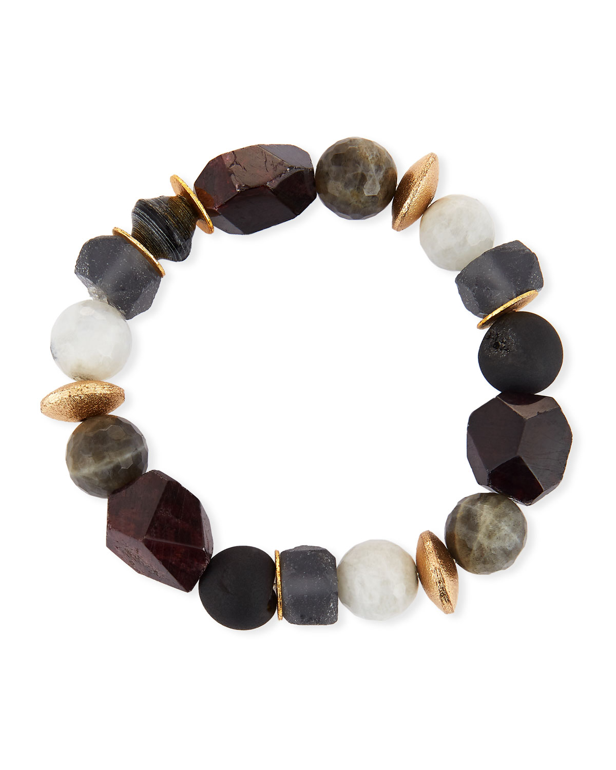 Akola Pica Beaded Garnet Stretch Bracelet PEn0l1