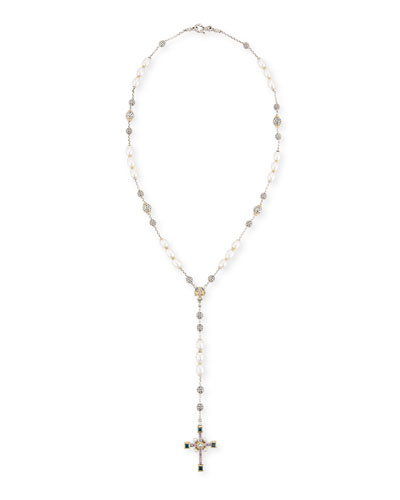 Pearl Lariat Cross Necklace