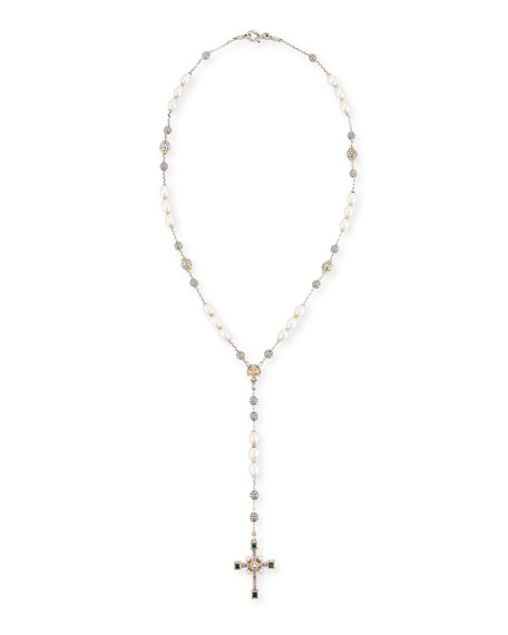 Konstantino Pearl Lariat Cross Necklace