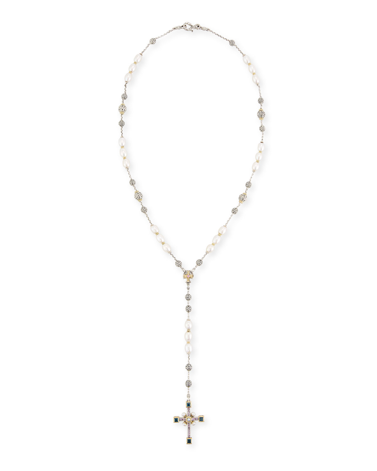 Cross pearl necklace neiman marcus quick look konstantino pearl lariat cross necklace aloadofball Images