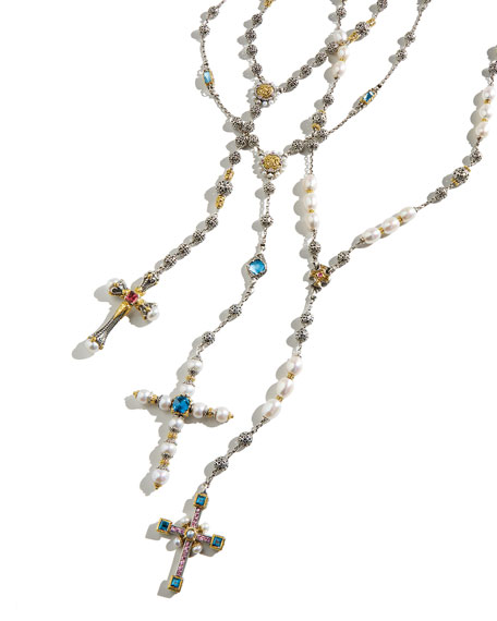Konstantino Blue Topaz & Pearl Lariat Cross Necklace