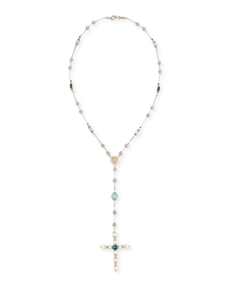 Blue Topaz & Pearl Lariat Cross Necklace
