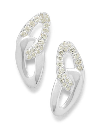 Cherish Link Stud Earrings with Diamonds