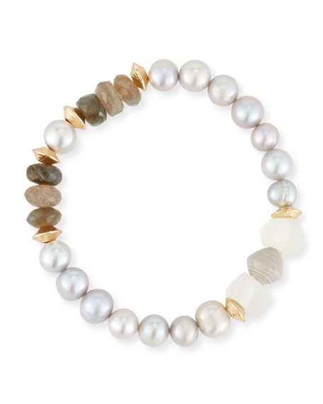 Akola Vail Pearly Gray & Pink Beaded Bracelet