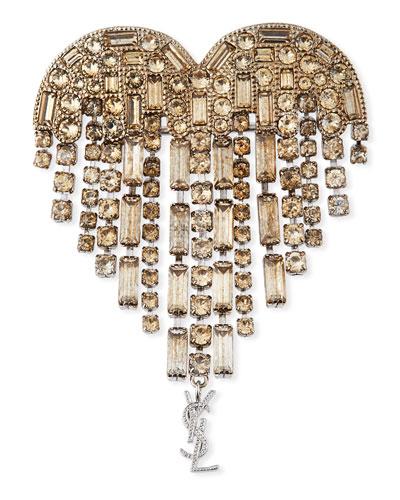 Heart Crystal Fringe Pin