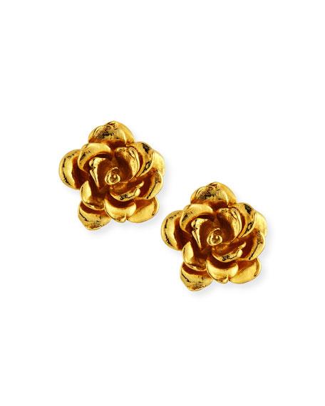 Jose & Maria Barrera Golden Flower Button Clip-On