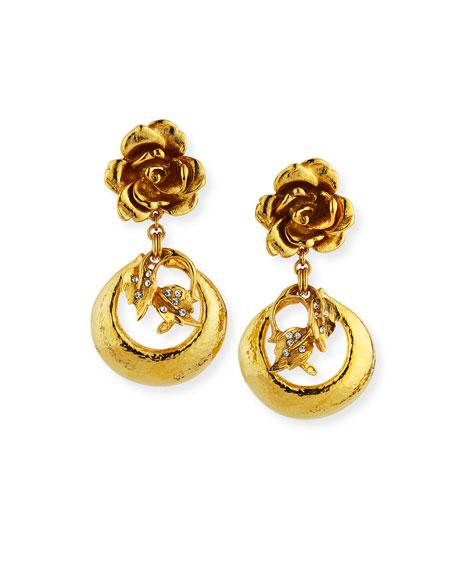 Golden Flower Clip-On Earrings