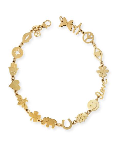 Sydney Evan 14k Pyrite Beaded Stretch Bracelet w/ Lock Charm u0qdDp