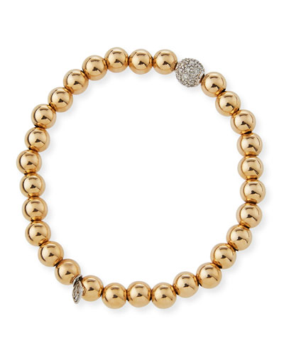 7mm Beaded Golden Ball Bracelet with Diamond Bead
