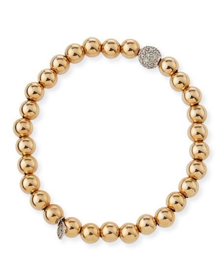Sydney Evan 8mm Golden Beaded Bracelet with Diamond Eye Medallion Charm 0XCjLlT