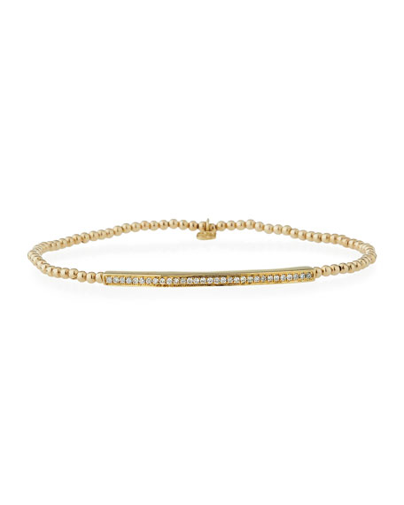 2mm Beaded Bar Spacer Bracelet with Diamonds