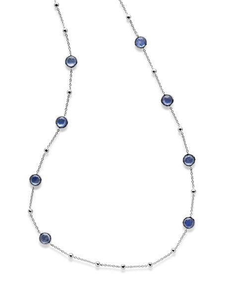 Ippolita Rock Candy Silver Lollipop Ball & Stone Station Necklace in Clear Quartz, 38