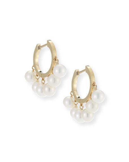 Sydney Evan Pearl Tassel Huggie Hoop Earrings