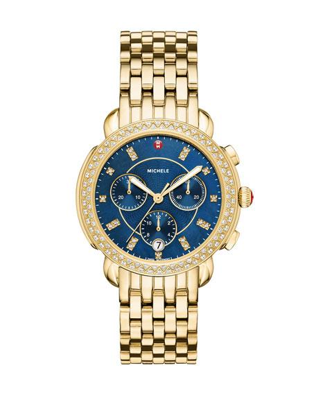 Sidney 18K Watch Head with Diamonds, Gold/Navy