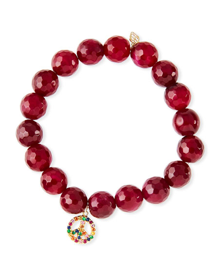 10mm Red Agate Beaded Bracelet with Rainbow Sapphire Peace Charm