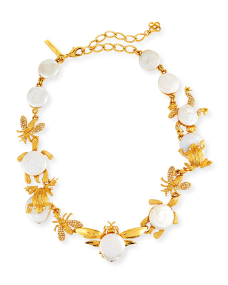 Oscar de la Renta Golden Pearl Critters Necklace
