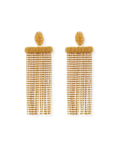Beaded Waterfall Tassel Clip-On Earrings