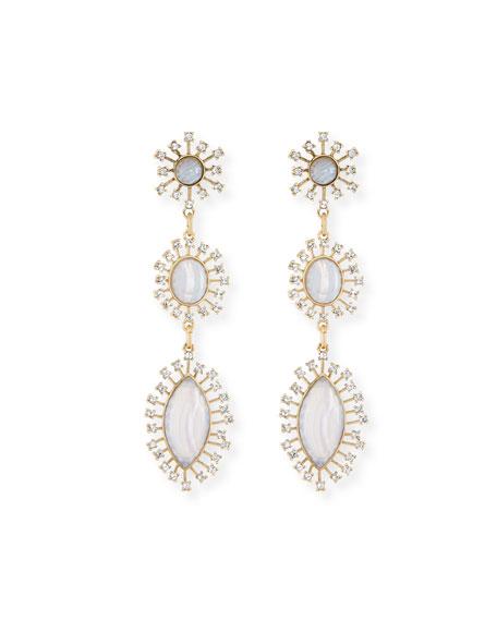 Crystal Bezel Three-Drop Earrings