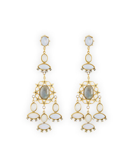 Crystal Bezel Chandelier Earrings