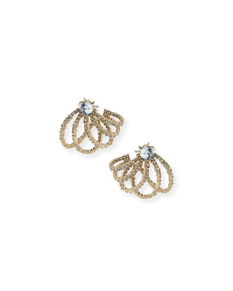 Alexis Bittar Golden Crystal Lace Orbiting Post Earrings