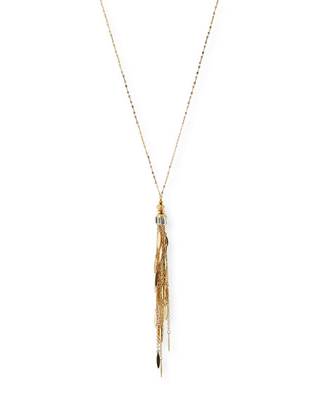 Golden Chain Fringe Pendant Necklace