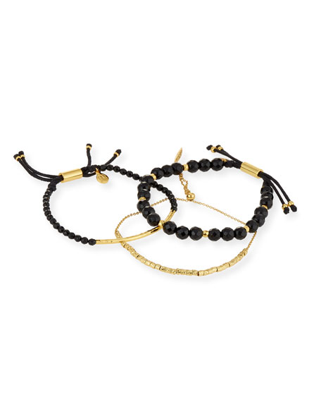 gorjana laguna black beaded bracelets  set of 3