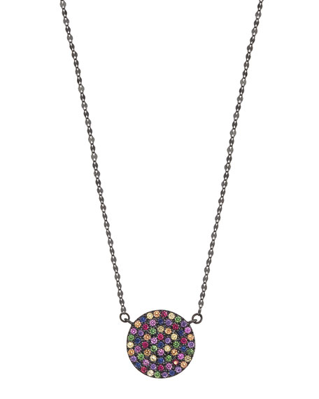 Lana Jewelry Electric Crossary Pendant Necklace with Rainbow Sapphires in 14K Black Gold k64G1x