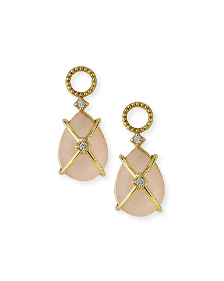 Lisse Wire-Wrapped Morganite Earring Charms with Diamonds