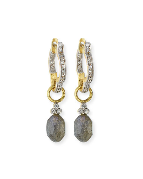 Provence Labradorite Briolette Earring Charms with Diamonds