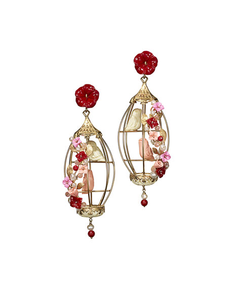 OF RARE ORIGIN AVIARY LOVEBIRD CORAL & AGATE BIRDCAGE EARRINGS