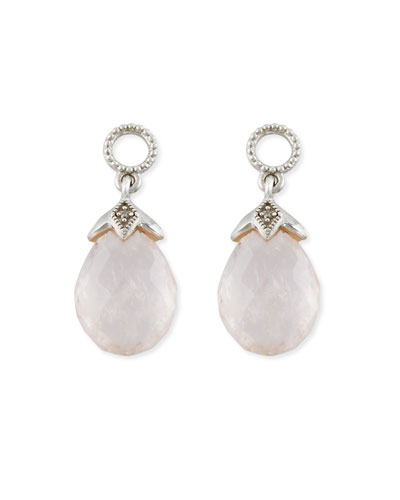 Lisse Morganite Briolette Earring Charms with Diamonds