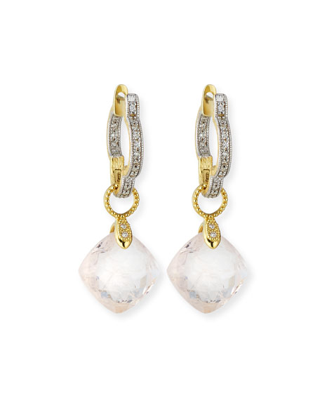 Lisse Small Cushion Morganite Earring Charms with Diamonds