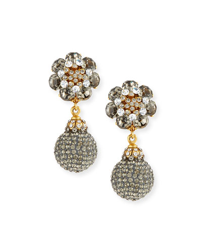 Crystal Double-Drop Clip-On Earrings