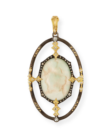 Armenta Old World Aquaprase Cabochon & Diamond Enhancer