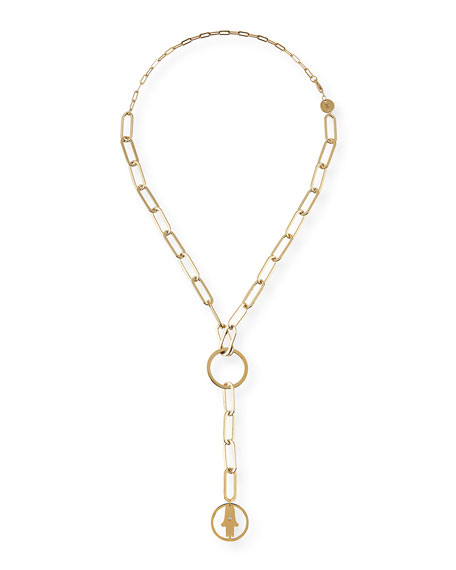 Jennifer Zeuner Casia Chunky Chain Short Lariat Necklace