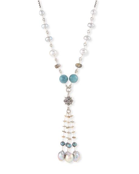 "Stephen Dweck Beaded Labradorite, Aquamarine & Pearl Necklace, 32"""
