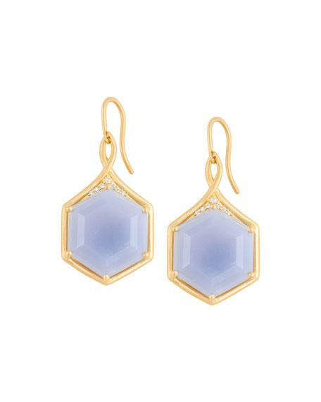 Mosaic Hexagon Drop Earrings with Blue Chalcedony & White Diamonds