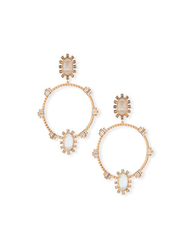 Gareth Open Hoop Drop Earrings in Rose-Tone Plate