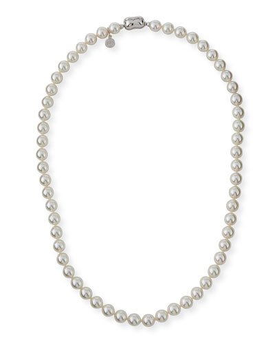 8mm White Simulated Pearl Necklace, 18