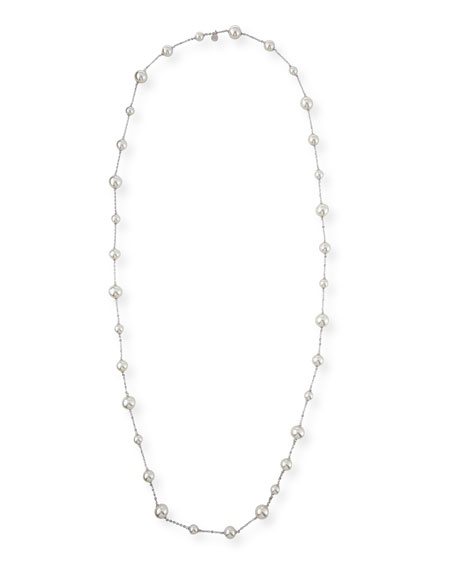 12mm White Simulated Pearl Necklace, 44""