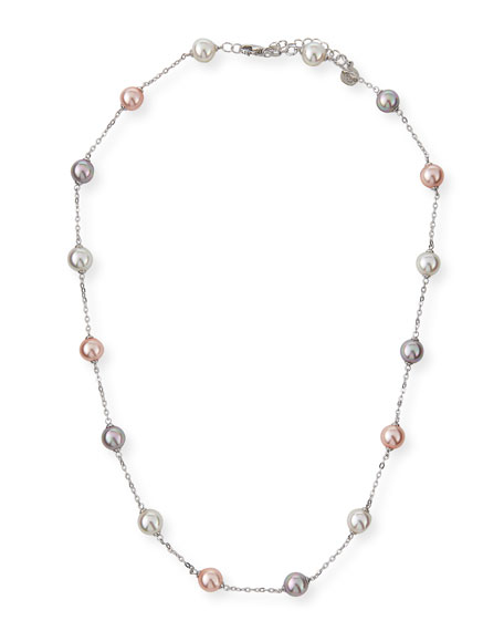 8mm White & Pink Simulated Pearl Station Necklace, 20""