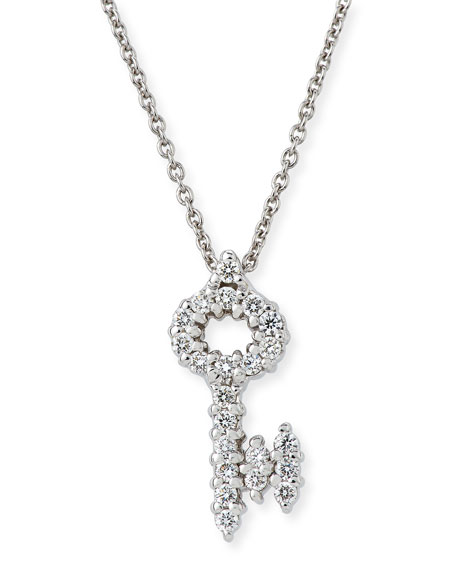 Roberto Coin Tiny Treasures Diamond Key Pendant Necklace