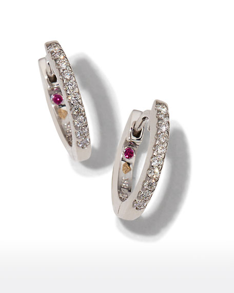 0a427e4f970e5 Mini Micro Diamond Hoop Earrings in 18K White Gold