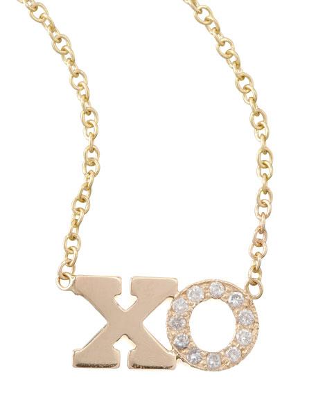 Zoe Chicco 14k Pave Diamond XO Pendant Necklace