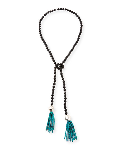 Black Horn & Turquoise Beaded Lariat Necklace