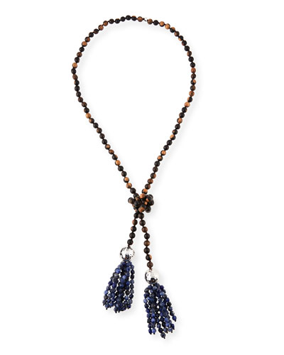 Beaded Wood & Sodalite Tassel Necklace