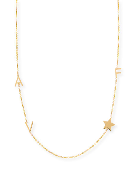 MAYA BRENNER DESIGNS Personalized Mini Three-Letter & Star Pendant Necklace in Gold