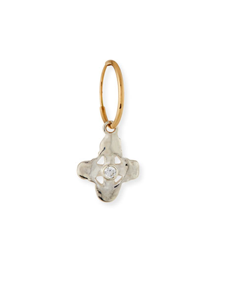Tiny Signature Cross Single Earring with Stone